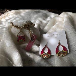 Vera Bradley handbag charm bracelet and Earring